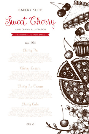 overhead: Vintage template with traditional cherry cakes