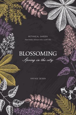 Vintage floral template on chalkboard Stock Illustratie