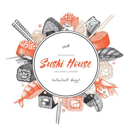 Conception de vecteur avec des illustrations de rouleau de sushi dessinées à la main. Cadre vintage avec croquis alimentaire asiatique sur backgroung blanc. Conception de modèle de menu de restaurant