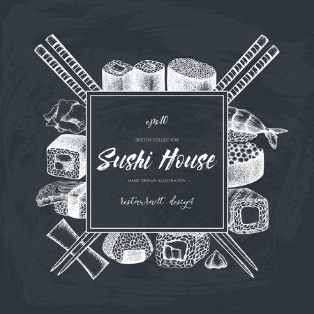 ベクターと寿司の手描きイラストをロールバックします。アジア料理とビンテージ フレームを黒板にスケッチします。レストラン メニュー テンプ