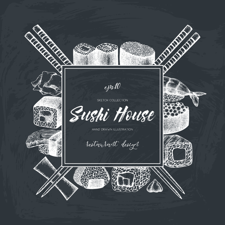 Vector design with hand drawn sushi roll illustrations. Vintage frame with asian food sketch on chalkboard. Restaurant menu template design
