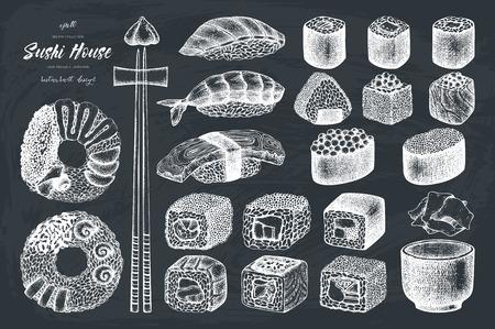 Collection vectorielle de sushi dessinés à la main vintage rolls ensemble vintage de nourriture asiatique menu menu menu conception de lettrage Banque d'images - 76493986