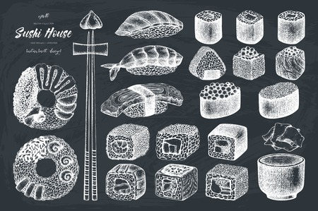 Vector collection of hand drawn sushi roll illustrations. Vintage set of asian food sketch. Restaurant menu template design