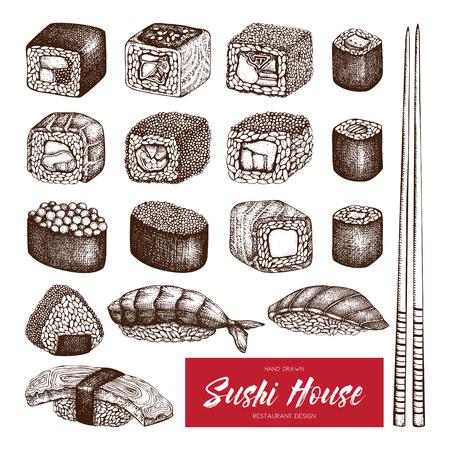 egg roll: Vector collection of hand drawn sushi roll illustrations. Vintage set of asian food sketch. Restaurant menu template design