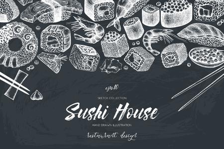 Vector sushi menu ontwerp Stock Illustratie