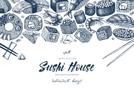 Conception de menu de sushi de vecteur