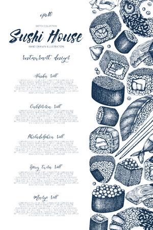 egg roll: Vector sushi menu design