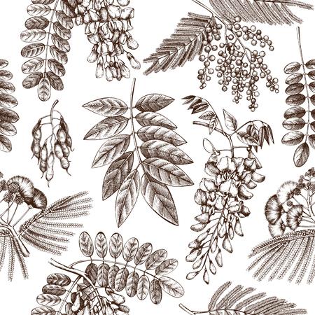 Vector Hintergrund mit blühenden Bäumen