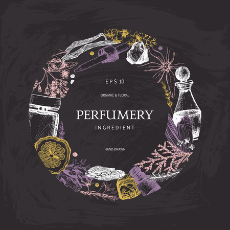 Set di illustrazioni per profumeria e cosmetici d'epoca