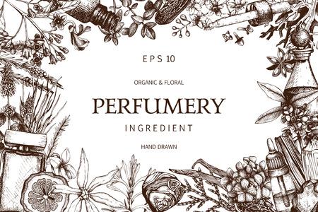 Vintage parfumerie en cosmetica illustraties ingesteld