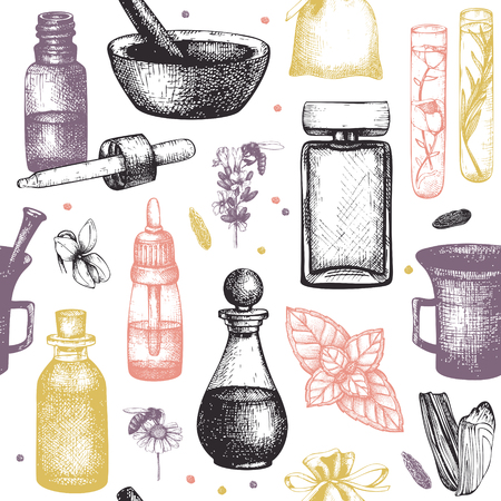 Organic and floral perfume ingredients background