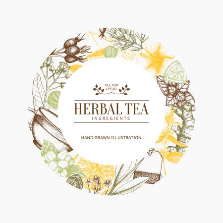 Vintage frame with herbal flowers illustration