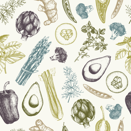 Vintage vegetables background