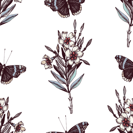 admiral: Admiral butterflies and Oleander pattern