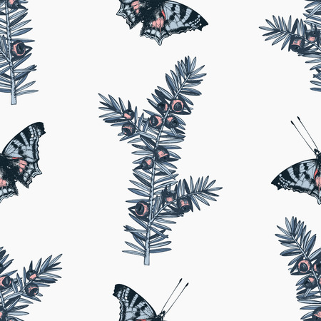 butterflies and Yew sketch pattern