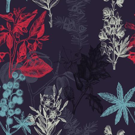 weeds: Vintage noxious plants sketch background.