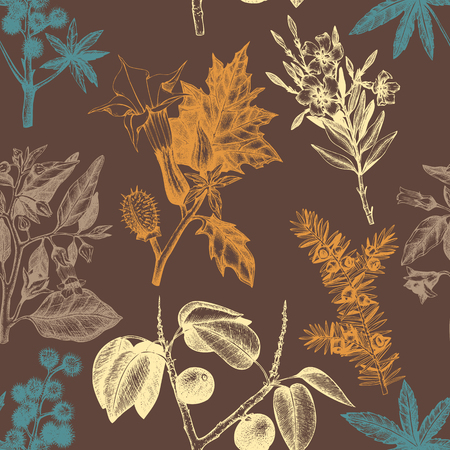 Vintage noxious plants sketch background.