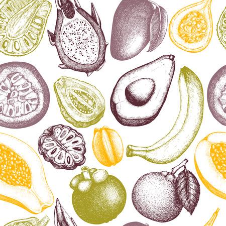 Vectorachtergrond met tropische vruchten Stock Illustratie