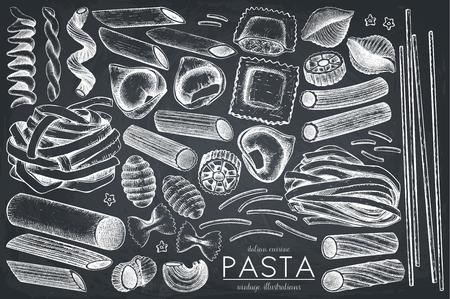 Insieme vettoriale di pasta italiana.
