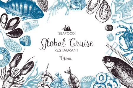 Handgezeichneten Meeresfrüchte-Design Standard-Bild - 79175807