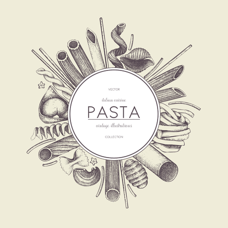 tortellini: Vector menu template with Italian pasta.