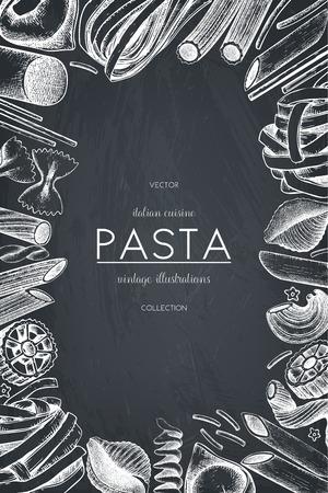 Vector menu template with Italian pasta.