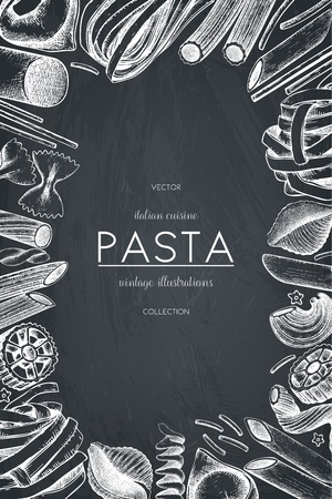 Vector menu template with Italian pasta.