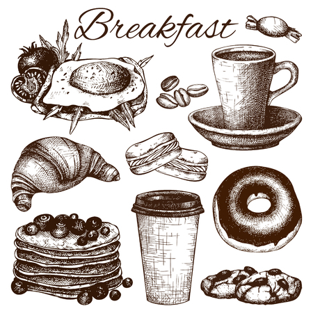 dessert buffet: A breakfast food illustration.