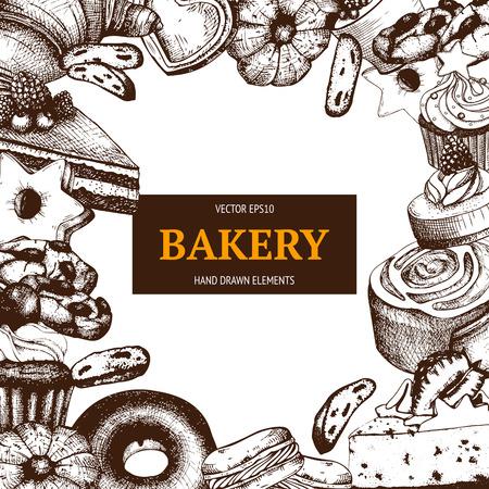 Conception de vecteur pour la boulangerie ou le magasin de pâtisserie avec illustration dessert dessiné à la main. Banque d'images - 79991426