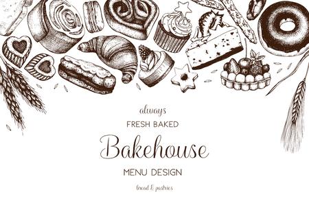 Hand drawn baking design Stock Illustratie