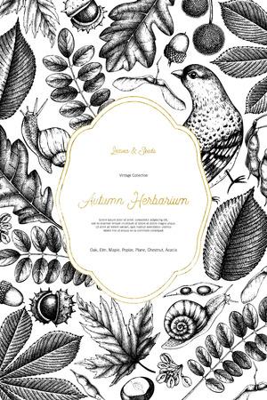 Autumn design card with gold Иллюстрация