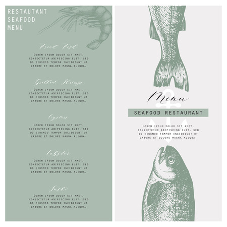 Seafood restaurant menu on plain background. Stock Vector - 89463806