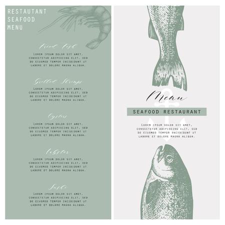 Seafood restaurant menu on plain background.