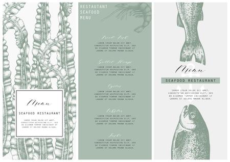 Hand drawn fish illustration. Vector template with hand drawn seafood illustration Vintage card or flyer design with sea food and seaweeds sketch. Restaurant menu. Illustration