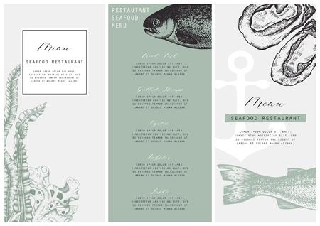 Hand drawn fish illustration. Vector template with hand drawn seafood illustration Vintage card or flyer design with sea food and seaweeds sketch. Restaurant menu. Illusztráció