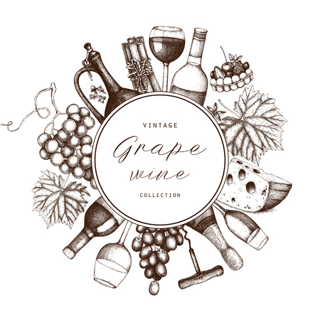Vintage wine card.  Vector illustration with wine glass, grapes, bottle. Hand drawn alcoholic drink template. Bar menu design