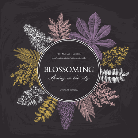 Vector card design with hand drawn blossoming trees. Floral wedding invitation template.