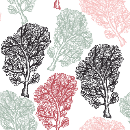 Seamless pattern with hand drawn reef corals sketch.