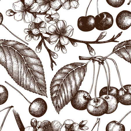 Vector seamless pattern with hand drawn cherry tree.