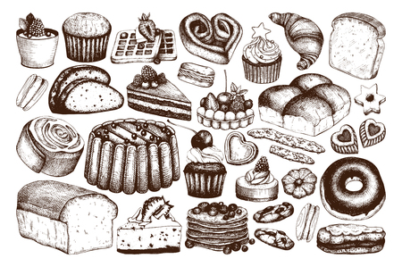 Vector collection of ink hand drawn baking