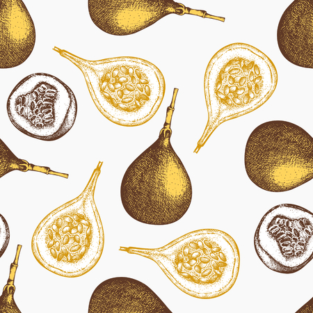 Sweet granadilla  Tropical hand drawn