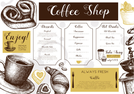 Vector card design with hand drawn ink baking and coffee Illustration