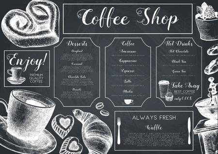 Diseño de tarjeta de vector con tinta dibujada a mano para hornear y café