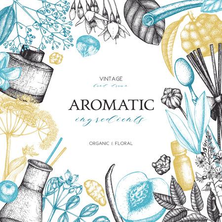 Ingredienti per profumeria e cosmetici disegnati a mano Vettoriali