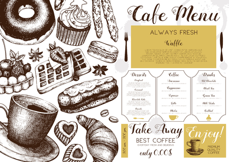 Vector card design with hand drawn ink baking and coffee illustrations. Vintage template with pastries sketch. Cafe or coffee house menu on white background.