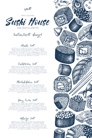 Sushi Vintage template with traditional asian food sketch Иллюстрация