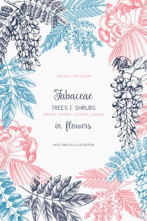 Vintage Bäume und Blumen Valentinstag oder Hochzeit Designvorlage Vektorgrafik
