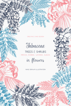 Vintage trees and flowers Valentine's Day or Wedding design template Illustration