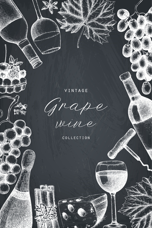 Vector grape wine frame. Hand drawn alcoholic drink template.