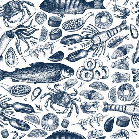 빈티지 해산물 벡터 (일러스트)